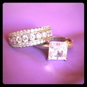 Wedding engagement rings set sz 8.5
